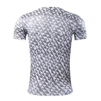 All Over Printed Quick Dry Breathable Sport T-shirt - GRAY GRAY