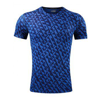 All Over Printed Quick Dry Breathable Sport T-shirt - BLUE BLUE