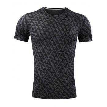All Over Printed Quick Dry Breathable Sport T-shirt - BLACK L