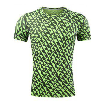All Over Printed Quick Dry Breathable Sport T-shirt - GREEN L
