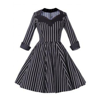 Sweetheart Neck Stripe Vintage Dress