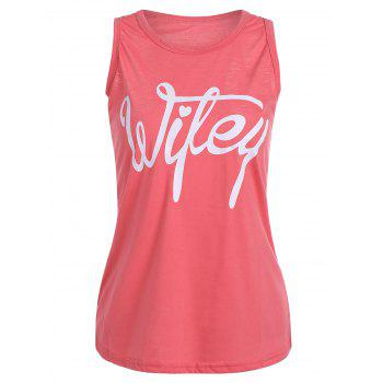 Scoop Neck Letter Print Racerback Tank Top