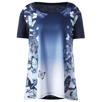 Plus Size Butterfly Print Ombre T-shirt