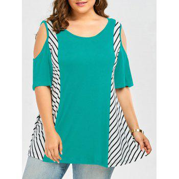 Plus Size Striped Cold Shoulder T-Shirt