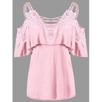Dew Shoulder Overlay Applique T-shirt