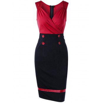 Double Breasted Sleeveless Vintage Pencil Dress