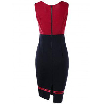 Double Breasted Sleeveless Vintage Pencil Dress - RED M