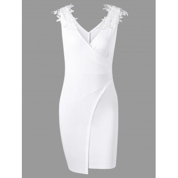 Lace Applique Overlap Surplice Dress - WHITE WHITE