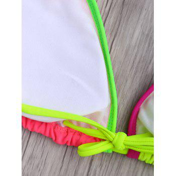 Sexy Halter Sleeveless Hollow Out Color Block Women's Bikini Set - COLORMIX M