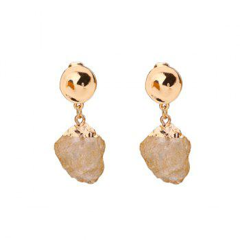 Vintage Natural Stone Round Drop Earrings