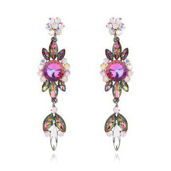 Faux Gem Rhinestoned Flower Dangle Earrings