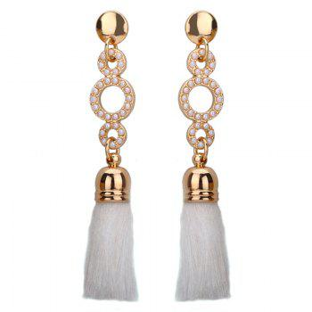 Faux Pearl Tassel Circle Drop Earrings