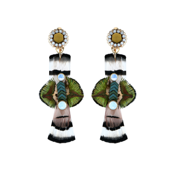 Statement Feather Floral Drop Earrings