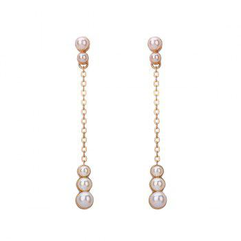 Faux Pearl Graduated Chain Earrings