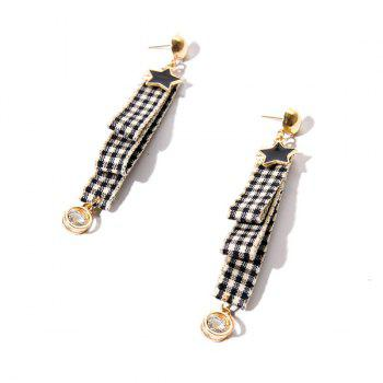 Rhinestone Plaid Fabric Star Drop Earrings