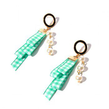 Plaid Fabric Artificial Pearl Circle Earrings