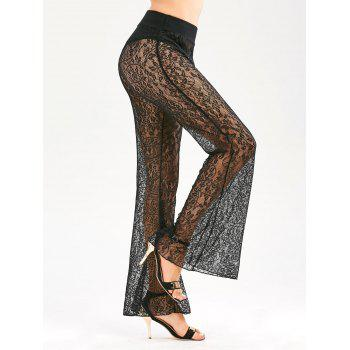 Sheer Elastic Waist Lace Flared Pants