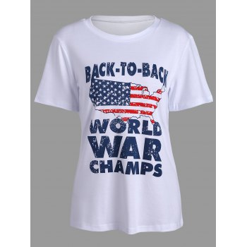 Short Sleeve American Flag Letters Print T-Shirt