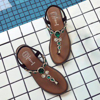 Faux Gem T-Strap Thong Sandals