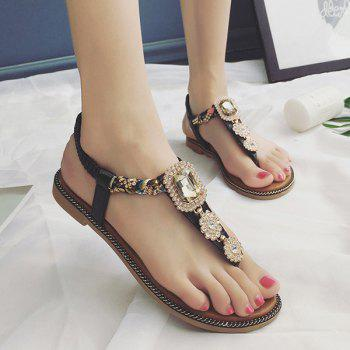 T Bar Rhinestone Flat Sandals