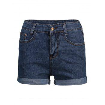 High Waist Cuffed Denim Shorts