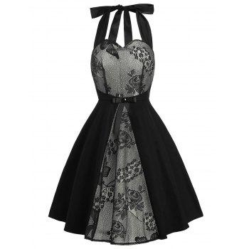 Vintage Lace Panel Bowknot Dress