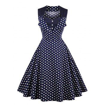 Button Polka Dot Vintage Swing Dress