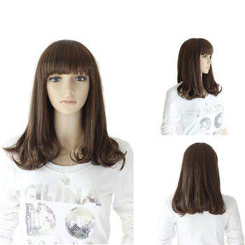 Medium Full Bang Slightly Curly Synthetic Wig