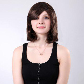 Short Oblique Bang Natural Tail Adduction Straight Bob Synthetic Wig