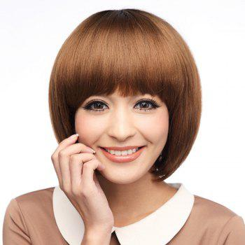 Neat Bang Glossy Straight Short Bob Synthetic Wig