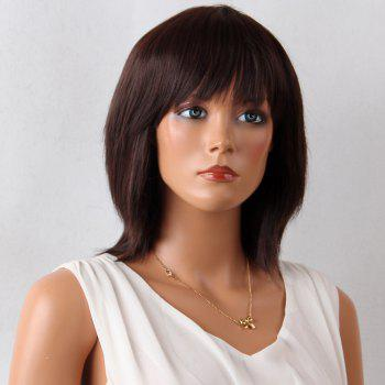 Medium Full Bang Layered Natural Straight Synthetic Wig
