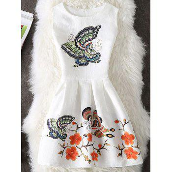 Floral and Butterfly Print Sleeveless Short Dress