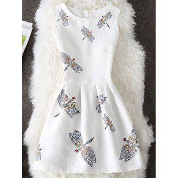 Dragonfly Print Sleeveless A Line Dress