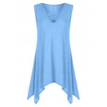 V Neck Criss Cross Tunic Tank Top