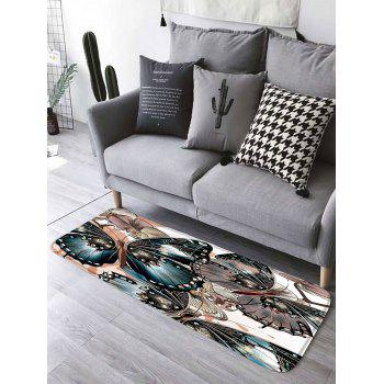 Floral Butterfly Flannel Skidproof Bathroom Rug