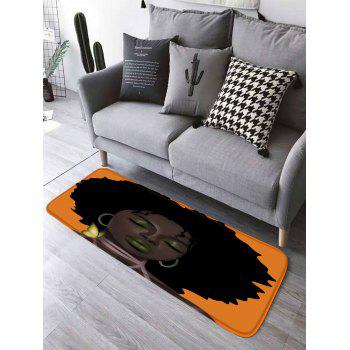 Afro Hair Lady Print Bathroom Rug