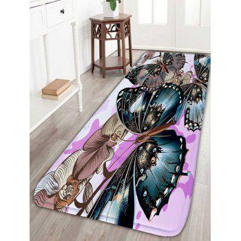 Flower Butterfly Print Skid Resistant Bathroom Rug