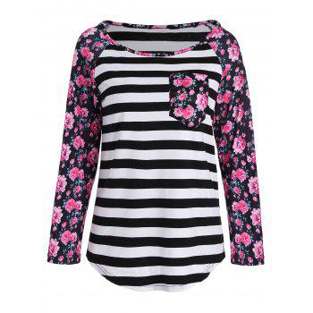 Floral Stripe Raglan Long Sleeve Print T-Shirt