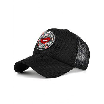 Rhinestone Embellished Mesh Splicing Lip Pattern Baseball Hat - BLACK BLACK