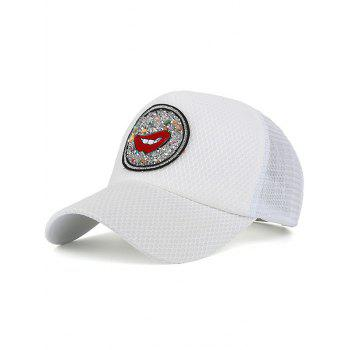 Rhinestone Embellished Mesh Splicing Lip Pattern Baseball Hat - WHITE WHITE