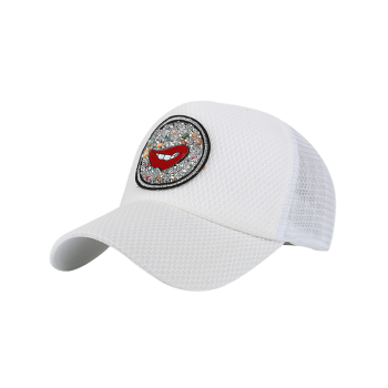 Rhinestone Embellished Mesh Splicing Lip Pattern Baseball Hat -  WHITE