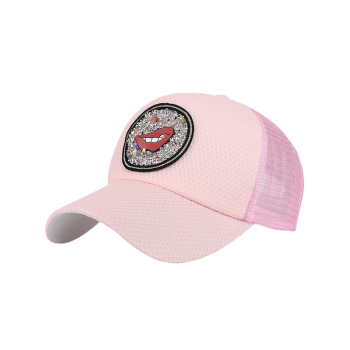 Rhinestone Embellished Mesh Splicing Lip Pattern Baseball Hat -  PINK