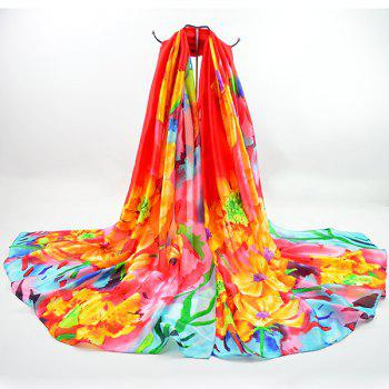 Smooth Imitation Silk Fancy Floral Scarf