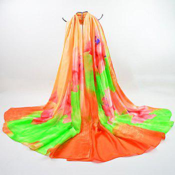 Imitation Silk Multicolor Flowers Printing Shawl Scarf