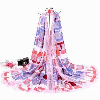 Plaid Smooth Imitation Silk Shawl Scarf