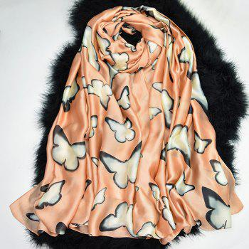 Smooth Imitation Silk Butterfly Printed Scarf - LIGHT COFFEE