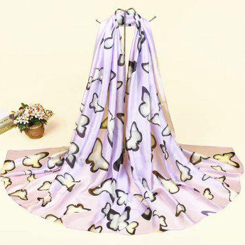 Smooth Imitation Silk Butterfly Printed Scarf