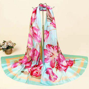 Imitation Silk Fabric Flowers Printed Smooth Scarf