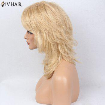 Siv Hair Tail Adduction Layered Medium Side Bang Slightly Curly Human Hair Wig - VENETIAN GOLD
