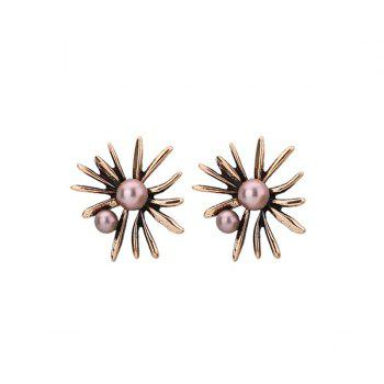 Alloy Floral Shape Faux Pearl Stud Earrings